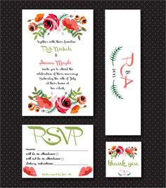 Printable Wedding Invitation Suite Set  by rosepistachiopress, $37.00