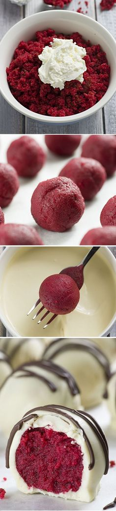 pumpkin recipes desserts, easy yummy dessert recipes, mascarpone dessert recipes - Red Velvet Truffles - A must make Valentine's Day treat! Delicious red velvet cake balls covered with white chocolate. So easy and oh so yummy! Brownie Desserts, Mini Desserts, Christmas Desserts, Chocolate Desserts, Christmas Baking, Just Desserts, Delicious Desserts, Yummy Food, Chocolate Truffles