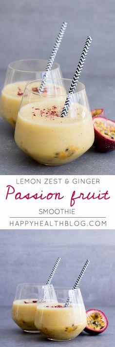 LEMON ZEST, GINGER & PASSION FRUIT SMOOTHIE - breakfast recipes, smoothie recipes, raw recipes, nutfree recipes - happyhealthblog.com - Photo: Natalie Yonan