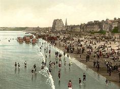 The beach, Portobello, Edinburgh, Scotland, c. Edinburgh City, Edinburgh Scotland, Scotland Travel, Scotland Trip, Portobello, Vintage Beach Photos, Inveraray Castle, Seaside Towns, Dolphins