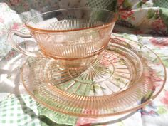 Anchor Hocking Pink Depression Glass Teacup and by VintageManaged, $15.00
