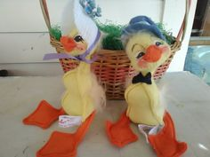 Vintage Annalee Doll Easter Chicks Pair Mr and Mrs Easter Chick Annalee Doll Pair by VintageByRew on Etsy