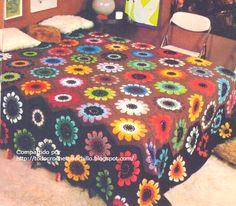 "Todo crochet: Cubrecama ""Campo de flores"""