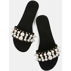 4439cd8900849a Open Toe Faux Pearl Slide Sandals BLACK ( 22) ❤ liked on Polyvore featuring  shoes