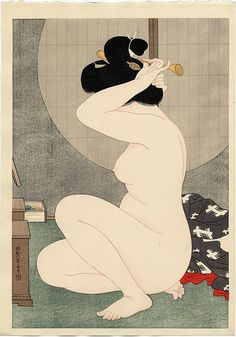 A woodblock print by Hirano Hakuho, Woman Arranging Hair Before a Window, at Scholten Japanese Art. Japan Illustration, Japanese Drawings, Japanese Prints, Chinese Prints, Art Asiatique, Art Japonais, Japanese Painting, Japan Art, Japanese Culture