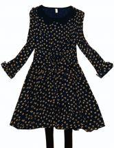 Navy Long Sleeve Cats Print Chiffon Dress $34.23