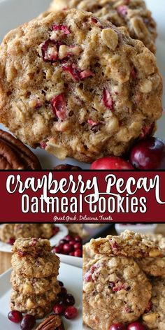 oatmeal cookies Cranberry Pecan Oatmeal Cookies are super delicious with tart bits of fresh cranberries, delicious pecans and the white chocolate chips throughout. Pecan Cookies, Yummy Cookies, Yummy Treats, Delicious Desserts, Cranberry Oatmeal Cookies, Delicious Chocolate, Brownie Cookies, Pecan Pies, Cookies With Oatmeal