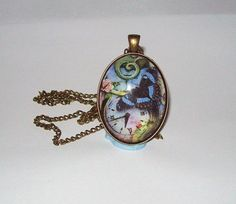 Handcrafted Antique Bronze Glass Pendant Blue by DBHjewellery, $14.75