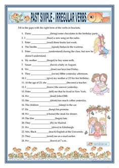 PAST SIMPLE - IRREGULAR VERBS worksheet - Free ESL printable worksheets made by teachers