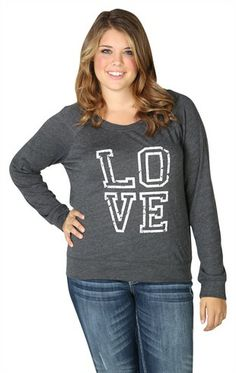 Deb Shops Plus Size Long Sleeve Oversized Tee with Love Screen $22.90