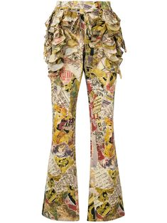 Moschino Vintage ruffled patchwork-print flared trousers