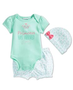 First Impressions Baby Girls' 3-Piece Princes Bodysuit, Short & Hat Set, Only at Macy's