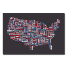 16 in. x 24 in. US Cities Text Map Canvas Art