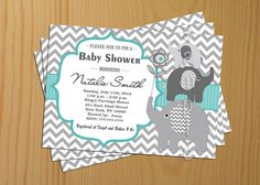 Chevron Baby Shower Invitation Boy teal tiffany Printable -FREE Thank You card included, Baby Shower Invite Printable on Wanelo