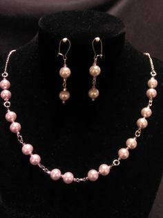 Pink Pearls Necklace & Earrings Set. $20.00, via Etsy.