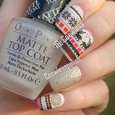 Instagram photo by coewless Scandinavian nails/sweater nails/swedish/folk art/ norwegian/ wintertime nails