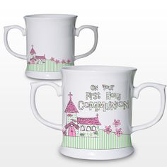 This bone china loving mug makes the perfect keepsake for that special occasion. The mug itself features a pretty church design and can be personalised with the child's name and any occasion such as a christening. Personalised Childrens Gifts, Personalised Christening Gifts, Baby Christening Gifts, Personalized Mugs, Baptism Gifts, Godchild Gift, Communion Gifts, Church Design, Confirmation Gifts