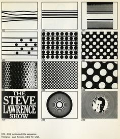 Animated title sequences from TV Graphics by Roy Laughton (Studio Vista: London and Reinhold Publishing Co.: New York, 1969). #60s #stevelawrence