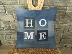 Denim Home Throw Pillow , Denim Decorative Pillow , Denim Pillow , Embroidered Pillow , Denim Sham Pillow , Home Pillow , Family Pillow by SecondBirthday on Etsy
