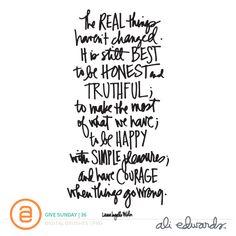 Ali Edwards | Blog: Give Sunday | 36 | Laura Ingalls Wilder quote