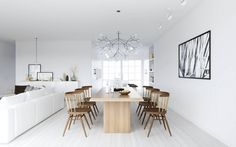 Awesome Pictures for Scandinavian Style Interior Design Ideas : Cool Scandinavian Style Interior Design With Light Wooden Dining Table Aweso...