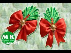 Мастер-класс Канзаши.Резинка для волос.НовогодняяКоронаКанзаши/Christmas Crown kanzashi an scrunchy. - YouTube