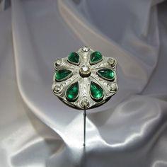 Antique Green Teardrop Stones Hatpin, Hat Pin, NR #AntiqueHatpin