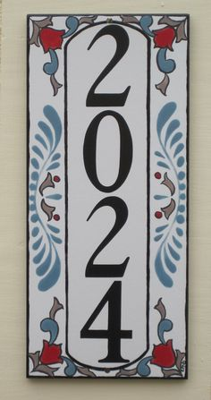 Vertical House Number Tile with Slate Blue, Red and Mocha Tile House Numbers, Address Plaque, Dark Navy Blue, Mocha, Slate, My Design, Decorative Metal, Hand Painted, Craftsman