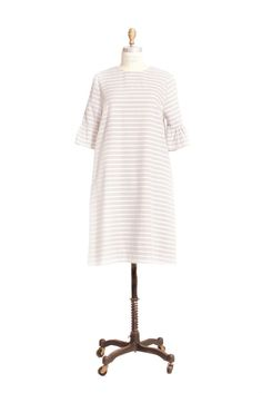 Diane peplum sleeve shift dress Grey and antique white stripe