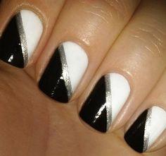 White gel nails, black and white nail art, black silver nails, simple White Gel Nails, Black And White Nail Art, Silver Nails, Black Nails, Oval Nails, Matte Nails, White Art, Black Silver, Diy Nail Designs