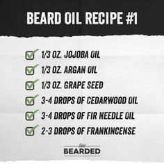 Beard Oil Recipe List You Can Make At Home and Counting) - Beard Tips Homemade Beard Oil, Diy Beard Oil, Beard Oil And Balm, Best Beard Oil, Beard Balm, Beard Tips, Beard Ideas, Beard Butter, Barbers