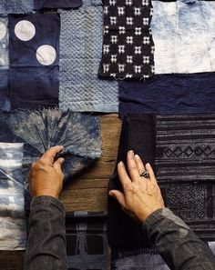 Ambatalia's Give Indigo Project, a collaborative quilt featuring indigo dyed fabric contributed from people around the world. Photo by Daniel Dent.