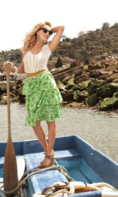 Land Ho! Skirt - Amp up the volume of your summer wardrobe with this spunky skirt.  Fresh foliage flounces on the tree tiers of cotton voile with a contrasting band cinching the waist of this summery number that hits just below the knee.  Perfect for a paddle around the pond or a summer cocktail party, paired with wedges or your favorite flip-flops the Land Ho! skirt will be a fresh addition to your fashion routine.