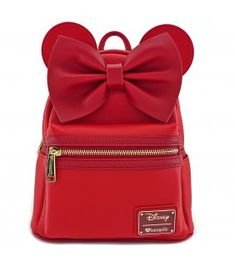 Loungefly x Red Minnie Ears   Bow Red Faux Leather Mini Backpack Bolso  Disney 75fd32846632