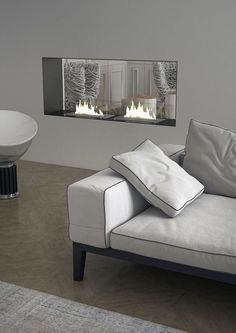 contemporary double-sided fireplace (bioethanol open hearth) INCASSO house design home design Fireplace Bookshelves, Fireplace Cover, Fireplace Built Ins, Shiplap Fireplace, Small Fireplace, Fireplace Remodel, Living Room With Fireplace, Fireplace Design, Bioethanol Fireplace