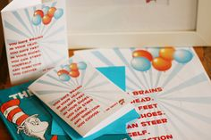 """""""You have brains in your head. You have feet in your shoes. You can steer yourself any direction you choose."""" - Oh the Places You'll Go! by Dr. Seuss - Party printables"""