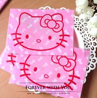 2014 FREE SHIPPING hello kitty self adhesive plastic gift bags for candy soap biscuit cookie bag 13*10+3cm  80pcs/lot