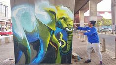 Site-Specific Elephant Murals on the Streets of South Africa by Falko One (Colossal) Elephant Images, Elephant Art, South African Artists, Colossal Art, Mural Painting, Land Art, Graffiti Art, Urban Art, Installation Art