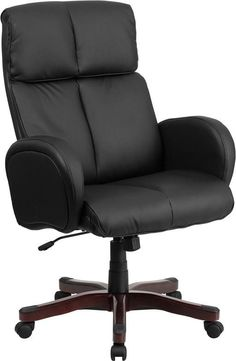 Flash Furniture BT-9028H-1-GG High Back Black Leather Executive Swivel Office Chair with Fully Upholstered Arms