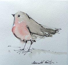 water colour robin