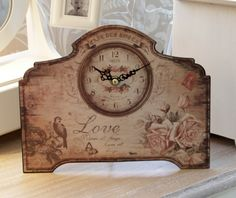 Metal Rose and Bird mantel / wall clock - Melody Maison®