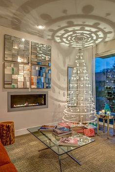 53 Wonderfully modern Christmas decorated living rooms  NOTE: love the tree idea