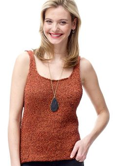 With subtle waist shaping and easy construction (sew the identical front and back pieces together), you'll look like a superstar knockout! Shown in Patons Metallic. #knitting
