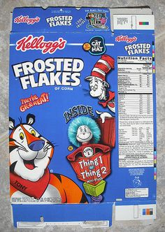 kelloggs cereal boxes | 2003 Kellogg's Frosted Flakes Cereal Box Dr. Seuss | Flickr - Photo ...