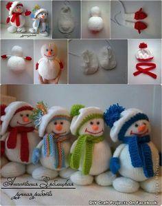 Er muß nicht gestrickt werden ... kann auch aus einer Socker gefertigt werden, Mütze + Schal gehäkelt ;O) Snowmen