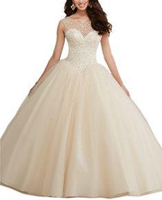 Mollybridal Tulle Long Pearls Sheer Neckline Ball Gown Quinceanera Prom Dresses Champagne 2 Mollybridal http://www.amazon.com/dp/B019ME1Z8U/ref=cm_sw_r_pi_dp_kUNVwb19WB2SC