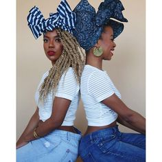 """Gwennie and Folami Blue headwraps.  Free domestic shipping is still happening. No code needed. www.thewrap.life  @keikoel and Founder @nnennastella  @sirdexrjones behind the camera  @charmaine_e makeup"" Photo taken by @thewraplife on Instagram, pinned via the InstaPin iOS App! http://www.instapinapp.com (03/16/2016)"