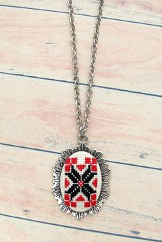 Embroidered necklace Hand embroidered pendant Ethnic