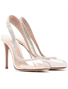 GIANVITO ROSSI Embellished Transparent Slingback Pumps