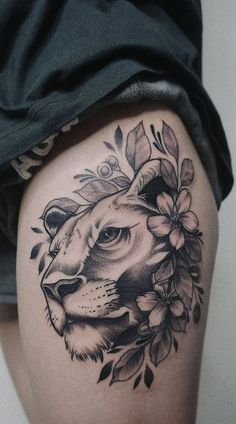 50 Eye-Catching Lion Tattoos That'll Make You Want To Get Inked – 50 tatouages ​​de lion accrocheurs qui vous donneront envie de vous encrer – Leo Tattoos, Animal Tattoos, Body Art Tattoos, Girl Tattoos, Sleeve Tattoos, Tatoos, Tattoo Ink, Lion Tattoo Meaning, Tattoos With Meaning